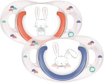 Bebe confort succhietto in silicone 6/18 mesi sweet bunny blu/rosso 2 pezzi